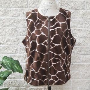 Jordan Giraffe Patterned Fur Vest
